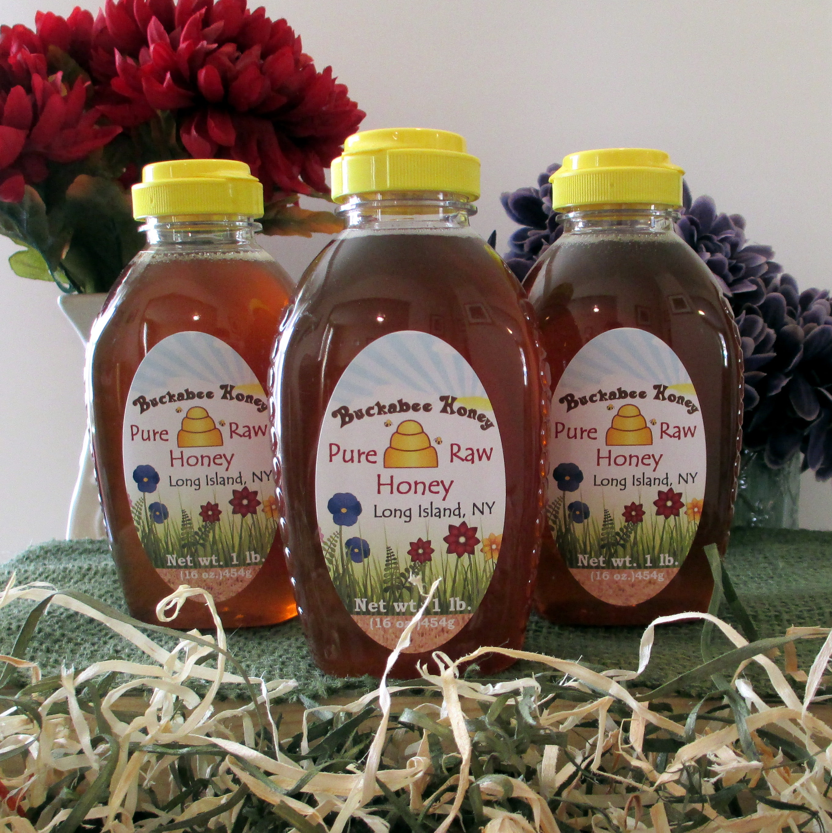 1 lb. honey bottle (Local Long Island Pure Raw Wildflower Honey)